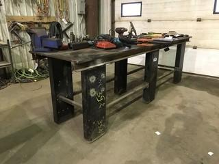 "30"" X 120"" Steel Shop Built Table **VISE NOT INCLUDED**"