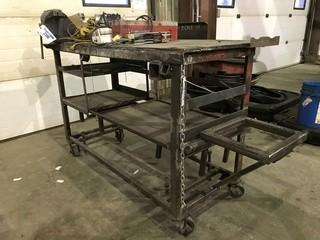 "30"" X 60"" Steel Shop Built Table **VISE NOT INCLUDED**"