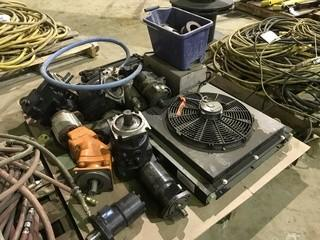 Pallet of Asst. Power Take Offs, Hydraulic Rams, Cooling Radiator, Hydraulic Motors etc.