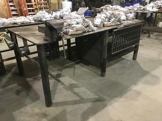 "48"" X 96"" Steel Shop Built Table w/ 8"" Bench Vise and Bench Grinder"