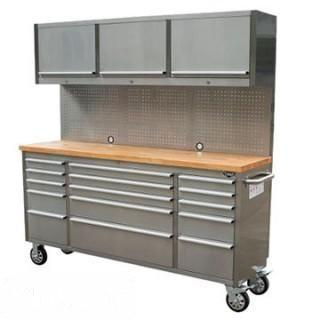 """New 72"""" Stainless Steel 15 Drawer Tool Chest w/ Upper Cabinet & Pegboard"""