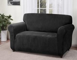 Kathy Ireland Home Day Break Box Cushion Loveseat Slipcover - Blk (KIHM1002_20267943)
