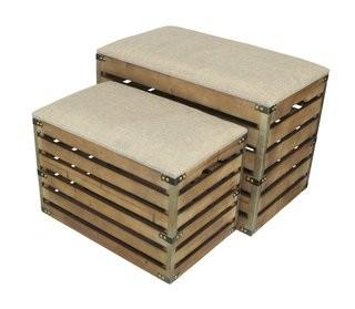 Gracie Oaks Probst Rectangular Slat Storage 2 Piece Bench Set with Metal Accent and Cushioned Lid (GRCS2180)