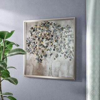 "Latitude Run 'A Teal Tree' Framed Painting Print 34"" x 34"" (LDER5591)"