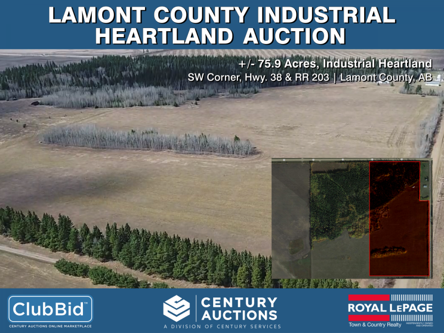 Lamont County Real Estate - May 29 - 75.9 Acres +/- - Industrial Heartland - Hwy 38 & RR 203 Lamont County, AB