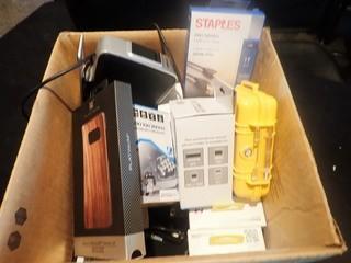 Lot of Asst. Cables, Pelican Case, Dymo Label Maker, Pocket Juice Charger, Phone Mounts, etc.