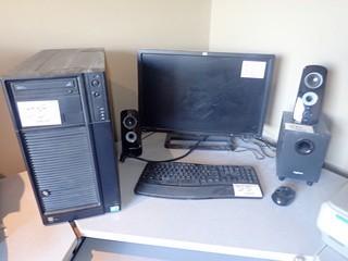 Lot of Desktop Computer, HP Flatscreen Monitor, Microsoft Wireless Keyboard and Logitech Surround Sound System.