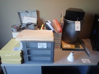 Lot of Paper Cutter, Waste Baskets, Calculators, and Asst. Office Supplies.