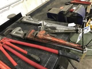 "Lot of (1) 36"" Aluminum Pipe Wrench, 24"" Ridgid Pipe Wrench, 18"" Ridgid Pipe Wrench."