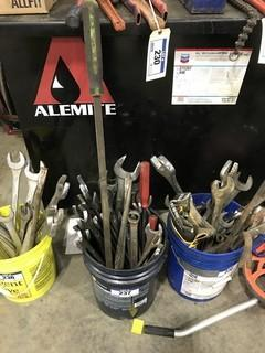 Lot of Asst. Combination Wrenches and Pry Bars, etc.