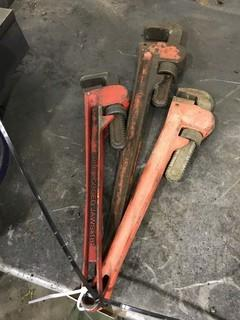 "Lot of (2) 18"" Pipe Wrenches and (1) 20"" Pipe Wrench."
