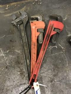 "Lot of (2) 18"" Pipe Wrenches and (1) 20"" Crescent Wrench."