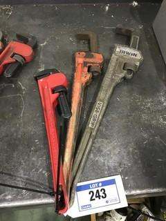 "Lot of (1) 16"" Pipe Wrench, (1) 24"" Pipe Wrench, and (1) 26"" Aluminum Pipe Wrench."