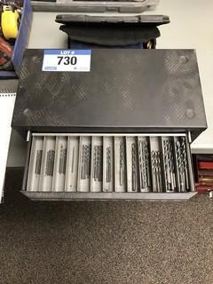 Lot of 3-Drawer Drill Bit Cabinet w/ Asst. Drill Bits
