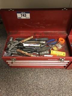 Lot of Mastercraft 3-Drawer Tool Chest w/ Asst. Hand Tools and Combination Wrenches