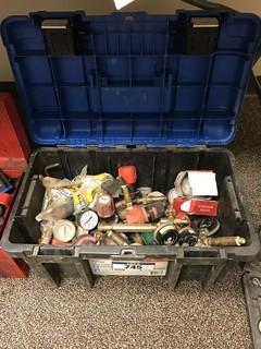 Lot of Mastercraft Tool Box w/ Asst. Regulators, Gauges, Tips, etc.