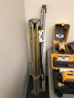 Lot of Surveying Tripod and Measuring Sticks
