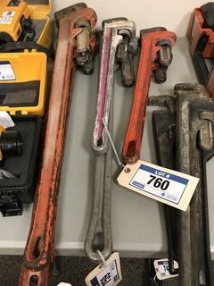 """Lot of (1) Aluminum 36"""" Pipe Wrench and (1) Aluminum 24"""" Pipe Wrench"""