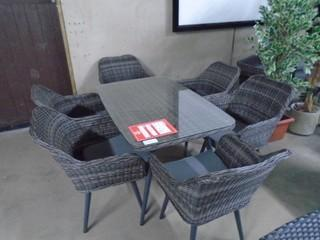 New 7 Pc Patio Dining Table & Chairs Set Grey Steel Tube w/ Glass Top