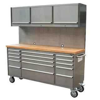"New 72"" 15-Drawer Tool Chest w/ Upper Cabinet & Pegboard"