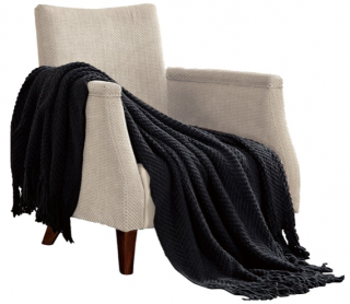 "Three Posts Nader Tweed Knitted Throw Blanket (TRPT1913_23236918_31422126) - Raven Color - 50"" x 60"""