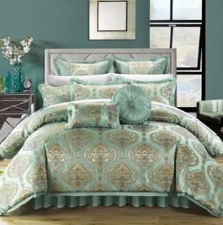 Chic Home Como 9 Piece Comforter Set (CHDE1933_15220459_15220460) - Queen - Blue Aqua