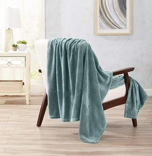 Great Bay Home - Velvet Plush Blanket - Twin - Blue Surf