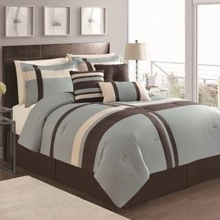 Latitude Run Eaton 7 Piece Comforter Set (LATT4693_21270940_21270937) - Blue/Chocolate - Queen