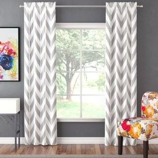 "Zipcode Design Ruth Chevron Light Filtering Rod Pocket Curtain Panels (ZIPC4436_19188718_19188720) - Grey/White - 56"" x 84"""