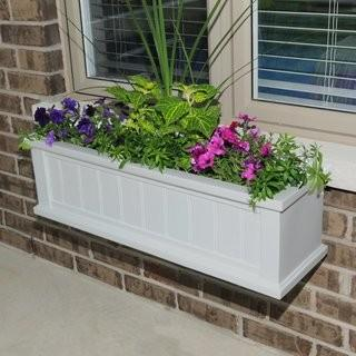 Cape Cod Self-Watering Plastic Window Box Planter (MYN1090) - White - 36""