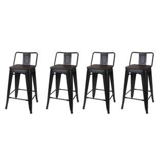 17 Stories Alric Low Back Metal 24 Bar Stool (STSS8599_25723185_25723186) - Set of 4 - Blk