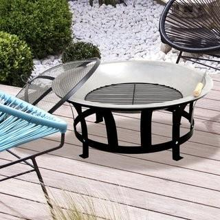 "Astella Stainless Steel Black & Silver 24"" Fire Pit (QWPS1049)"