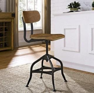 Modway Adjustable Height Swivel Dining Stool (FOW3039) - Walnut Wood Seat / Brown