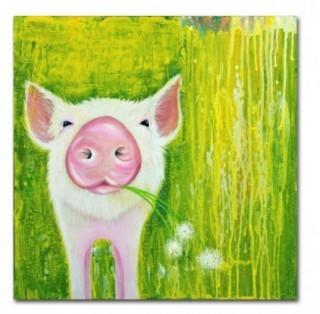 "Trademark Fine Art 'Pig' Print on Wrapped Canvas (HYT82090_24038616) 35"" square"