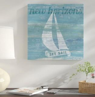 "East Urban Home 'Drift Sailboat' Graphic Art Print on Canvas (UBAH6434_29645507) - 24"" Square"