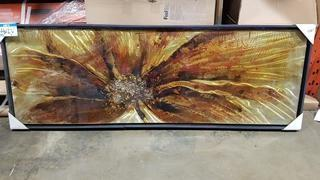 "Rusty Explosion - 21"" x 60"" - Frame has crack"
