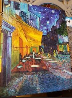 "Charlton Home Cafe Terrace at Night' by Vincent Van Gogh Framed Graphic Art Print on Canvas (CHLH2354_15479975) - 18"" x 14"""