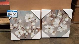 "Pair White Flowers Prints - 12"" Sqaure Each"