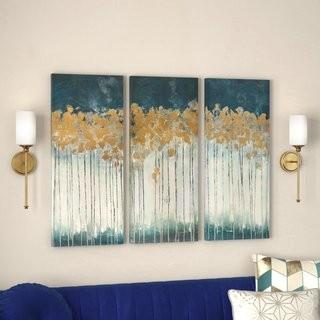 Willa Arlo Interiors 'Midnight Forest' Gel Coat Canvas Wall Art with Gold Foil Embellishment 3-Piece Set (WRLO7263)