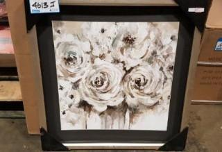 "White Roses Framed Print - 24"" Square"