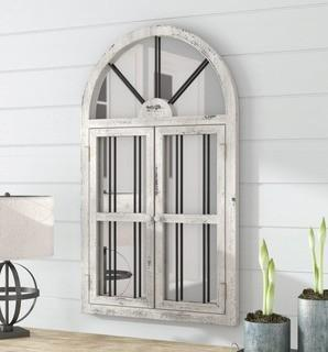 Laurel Foundry Modern Farmhouse Faux Window Wood Wall Mirror (LARK6837)