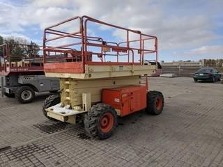 JLG 33-RL Scissor Lift c/w 4 Cyl Diesel Fuel Gas/LPG. Work order in Office.