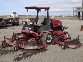 "Toro Groundsmaster 580D Mower c/w 4 Cyl Diesel, ROPS, 96"" Front Mower, (2) 60"" Wing Decks. Showing 1131 Hour.
