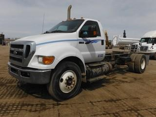 2012 Ford F750 S/A C&C c/w Cummins 6.7L, 6 Spd, A/C, 11R22.5 Tires. Showing 303,926 Kms.