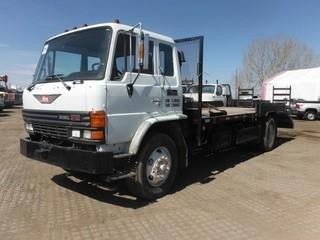 1989 Hino FE S/A Deck Truck c/w Diesel, Auto, A/C, 19' Deck. Showing 325,225 Kms.