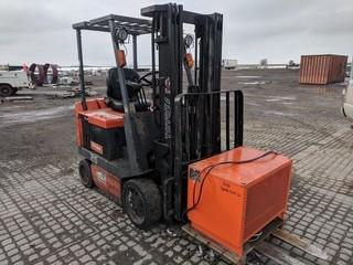 Toyota 5FBCU25 4300 LB Electric Forklift c/w Barry Charger. Solid Tire. Showing 14,330 Hours.