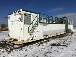 Multi Compartment Mud Mixing Station Skid Mounted 11'x69' c/w 7.5 HP Agitators, Overhead Explosion Proof Lights, Catwalks.