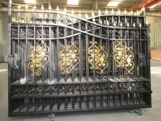 Unused 20' Heavy Duty  Bi-Parting Wrought Iron Driveway Gate. Control # 7047
