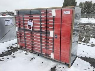 "Unused  Heavy Duty 80"" Multi Drawer Tool Cabinet 12 Drawers, 2X Large Doors, 2X Small Doors. Control # 7048.