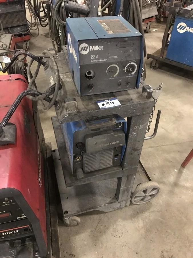 Miller XMT 350 w/ Miller 22A Wire Feeder and Cart **LOCATED IN EDMONTON**